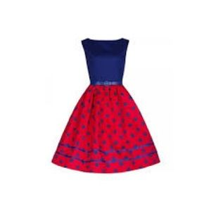 Lindy Bop Red and Blue Pinup Dress US Size 20.